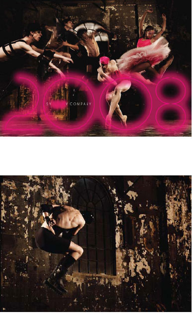 SYDNEY DANCE COMPANY SEASON BROCHURE 2008. Late in 2007 I got a call from Noel Staunton,with no artistic director in place, to generate a new look for the Sydney Dance Company. The first time in 30 years that the dancers were photographed without Graham Murphy's direction. I was asked to create a brochure that heralded three new works that had not yet been created. It meant an entire re-imaging of the company to ignite new found interest. I assembled the team, photographer Jez Smith, Master Stylist Kelvin Harries, Hair Artist Darren Borthwick and Make Up Artist Natasha Severino, best in their fi elds. My role did not stop with the creation of the images; there were sleepless nights directing contracted graphic designers Frost – but all worth it in the end