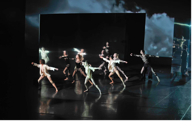 SYDNEY DANCE COMPANY – 360. These images are of the 2008 Sydney production of 360,a new work created from scratch in seven weeks Choreographed by Rafael Bonachela for which I designed the costumes, set and large scale video images.